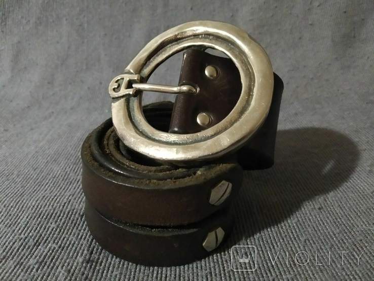 Ремень с массивной пряжкой Толстая кожа Европа, фото №2