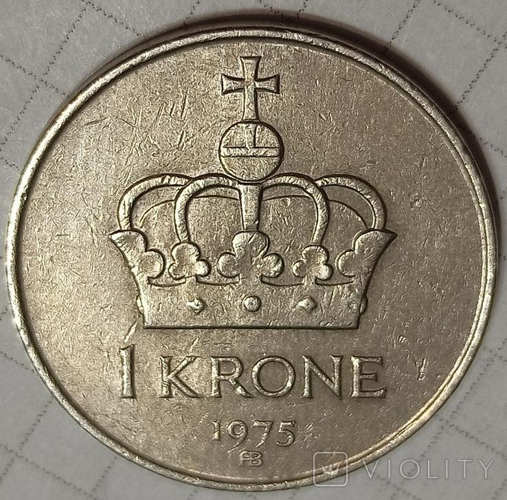 Норвегия 1 крона 1975, фото №3