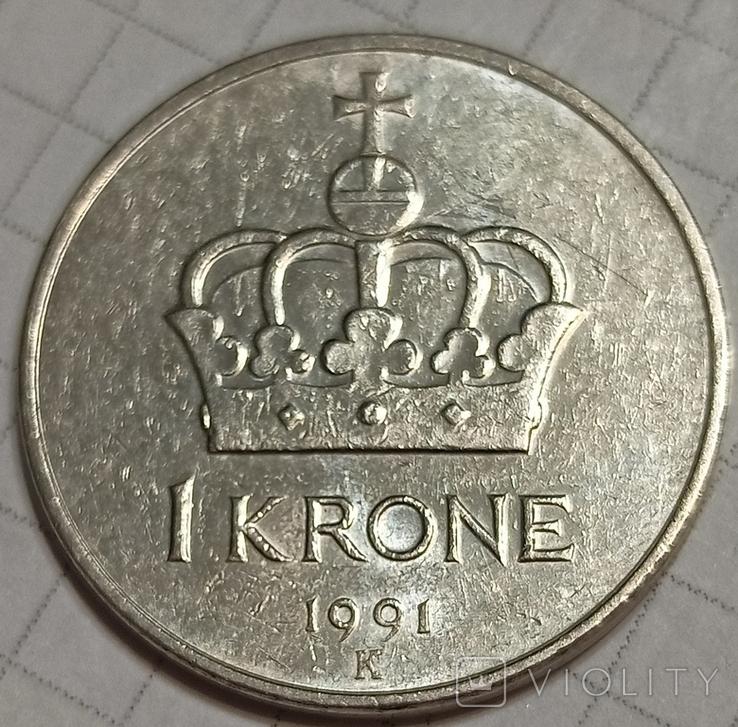 Норвегия 1 крона 1991, фото №3