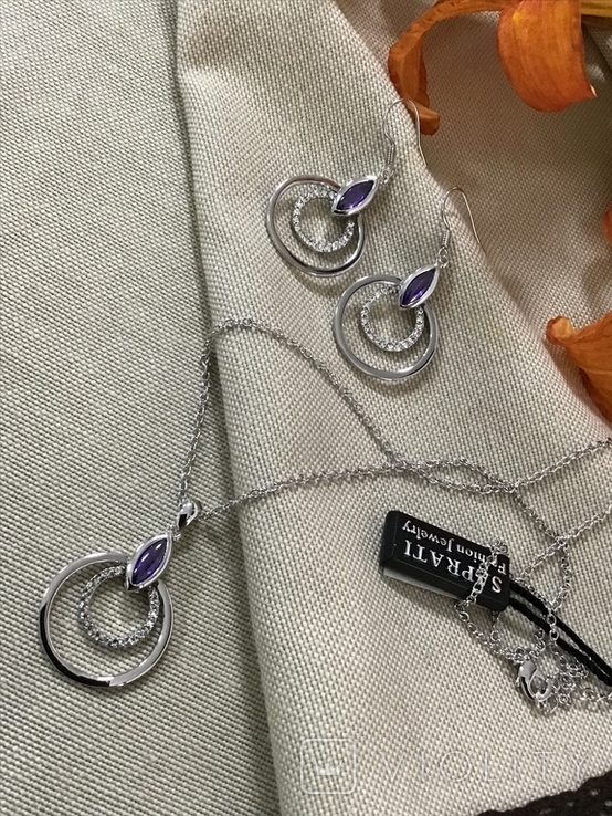 Сережки та кулон на ланцюжку, фото №4