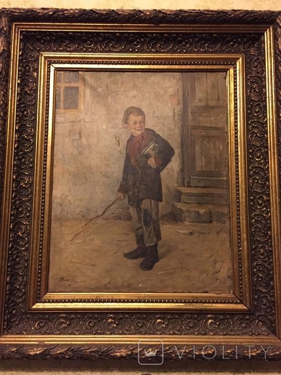 """Картина Л.В.Попова """"Мальчик с книгами и прутом"""" 1900 г., фото №2"""