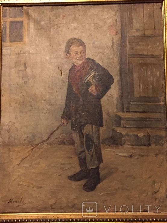 """Картина Л.В.Попова """"Мальчик с книгами и прутом"""" 1900 г., фото №5"""