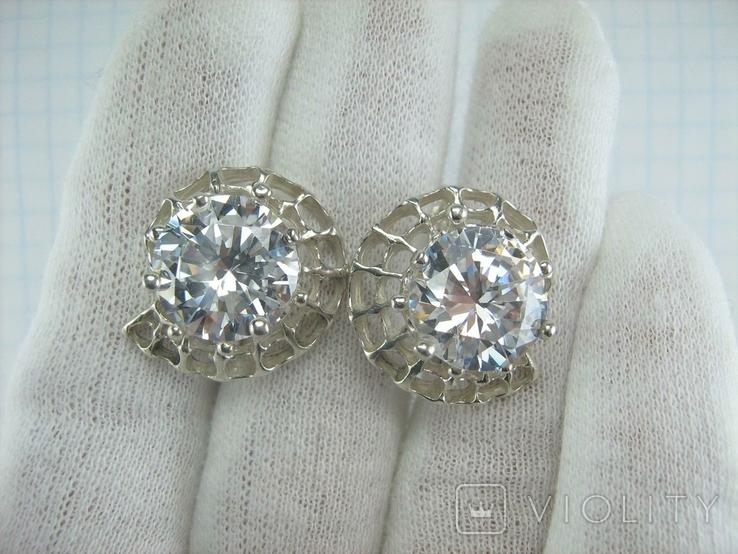 Новые Серебряные Серьги Сережки Крупные Камни 12 мм Английская Застежка 925 проба 143, фото №3