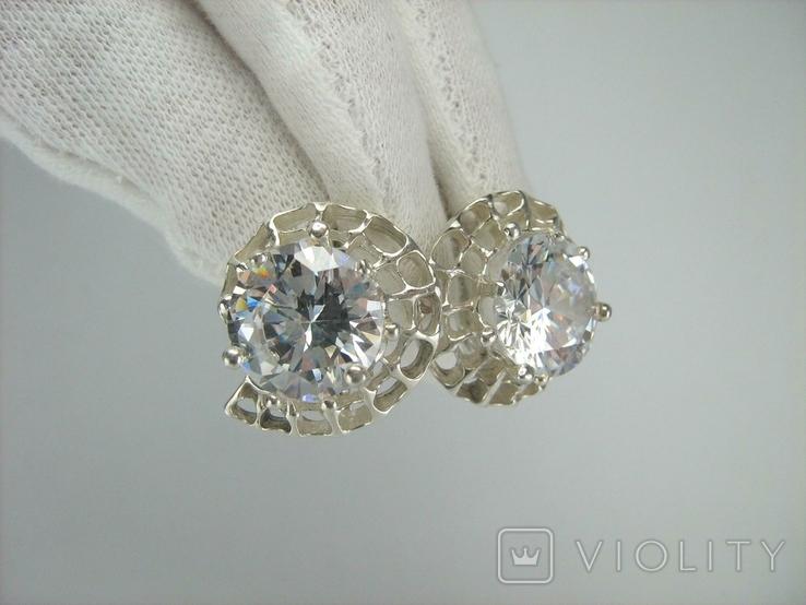 Новые Серебряные Серьги Сережки Крупные Камни 12 мм Английская Застежка 925 проба 143, фото №4