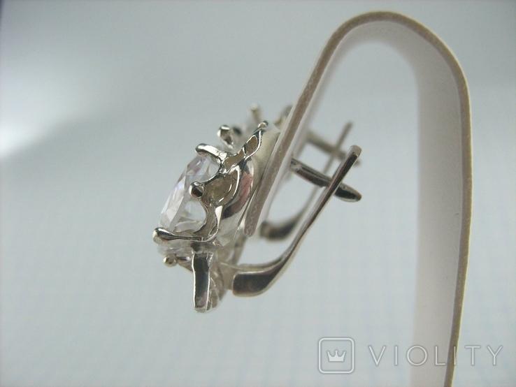 Новые Серебряные Серьги Сережки Крупные Камни 12 мм Английская Застежка 925 проба 143, фото №7