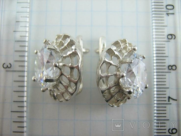 Новые Серебряные Серьги Сережки Крупные Камни 12 мм Английская Застежка 925 проба 143, фото №8