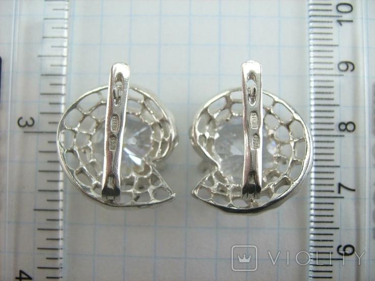 Новые Серебряные Серьги Сережки Крупные Камни 12 мм Английская Застежка 925 проба 143, фото №9