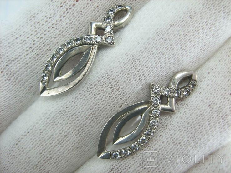 Серебряные Серьги Сережки Длинные Камни Английская Застежка 925 проба Серебро 139, фото №10