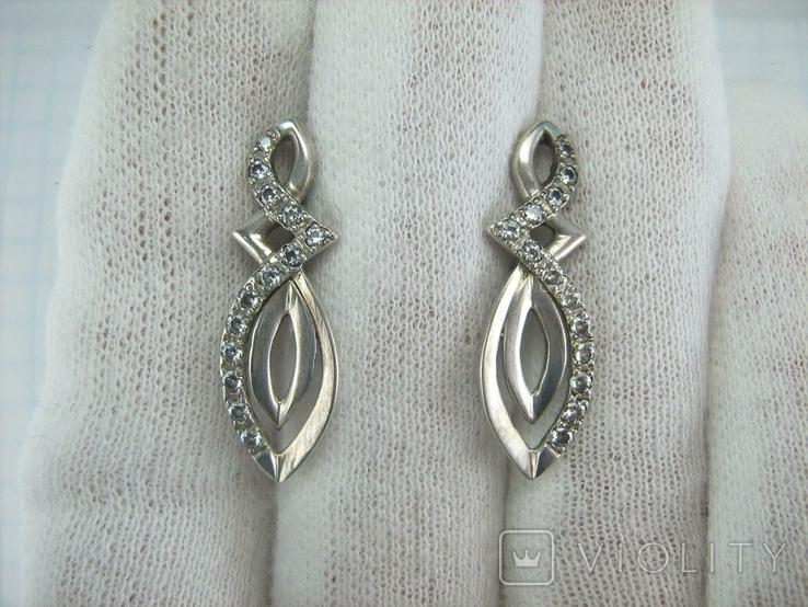 Серебряные Серьги Сережки Длинные Камни Английская Застежка 925 проба Серебро 139, фото №12