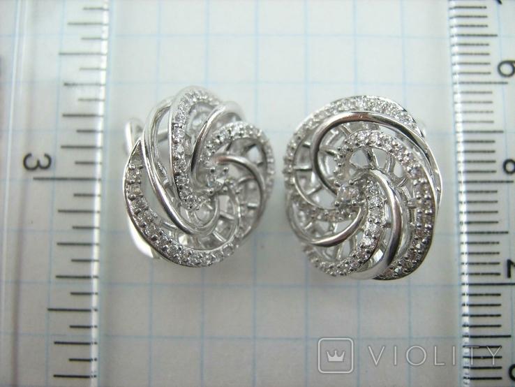 Новые Серебряные Серьги Сережки Камни Английская Застежка Замок 925 проба Серебро 138, фото №6