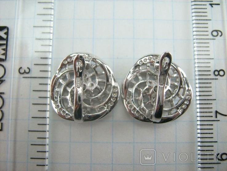 Новые Серебряные Серьги Сережки Камни Английская Застежка Замок 925 проба Серебро 138, фото №7
