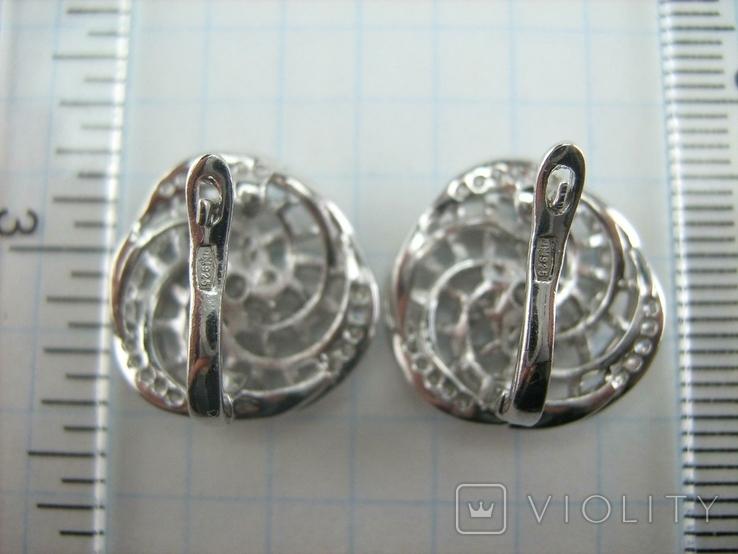 Новые Серебряные Серьги Сережки Камни Английская Застежка Замок 925 проба Серебро 138, фото №8