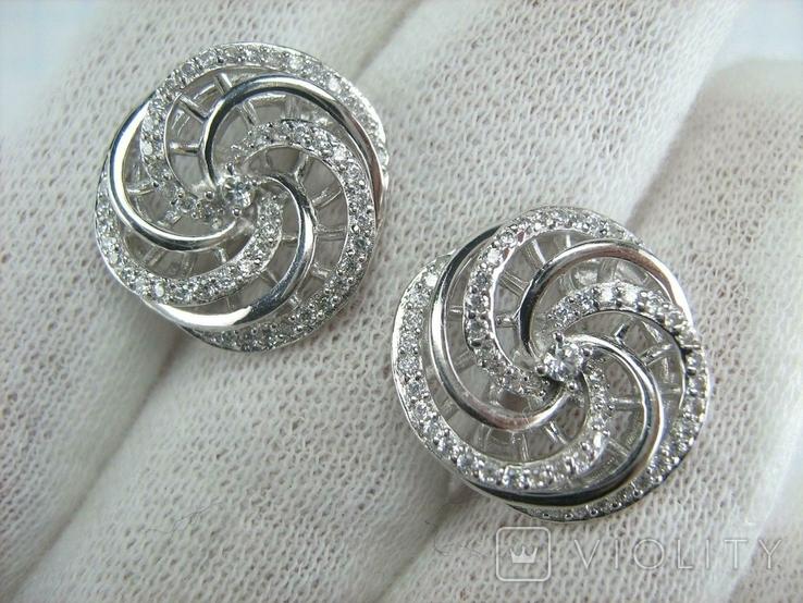 Новые Серебряные Серьги Сережки Камни Английская Застежка Замок 925 проба Серебро 138, фото №10