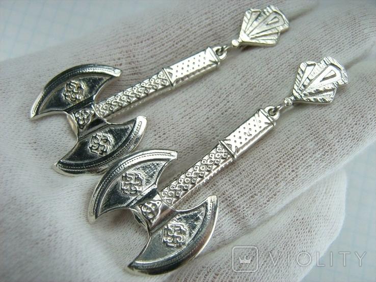 Новые Серебряные Серьги Сережки Секиры Кельтский Узел Английская Застежка 925 проба 145, фото №2