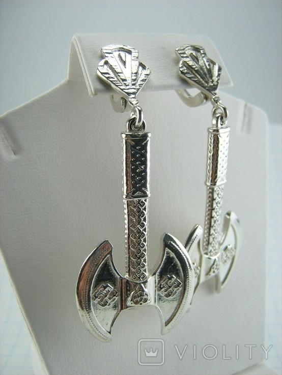 Новые Серебряные Серьги Сережки Секиры Кельтский Узел Английская Застежка 925 проба 145, фото №5
