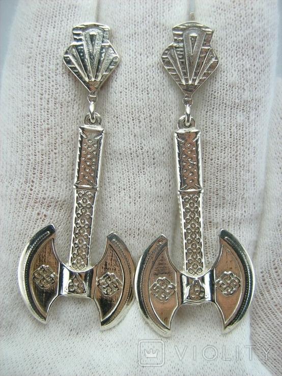 Новые Серебряные Серьги Сережки Секиры Кельтский Узел Английская Застежка 925 проба 145, фото №10