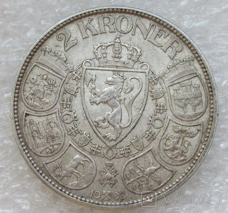 2 кроны 1908 г. Норвегия, серебро, фото №2