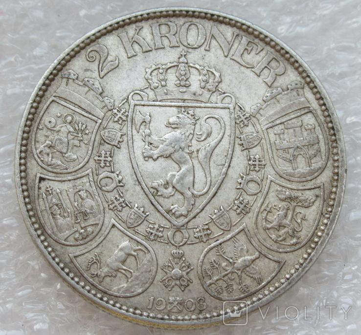 2 кроны 1908 г. Норвегия, серебро, фото №4