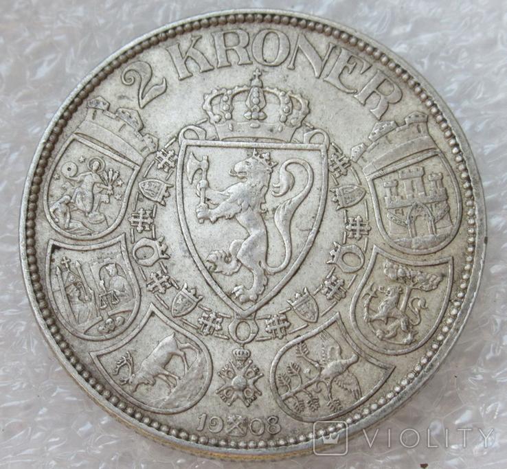 2 кроны 1908 г. Норвегия, серебро, фото №5