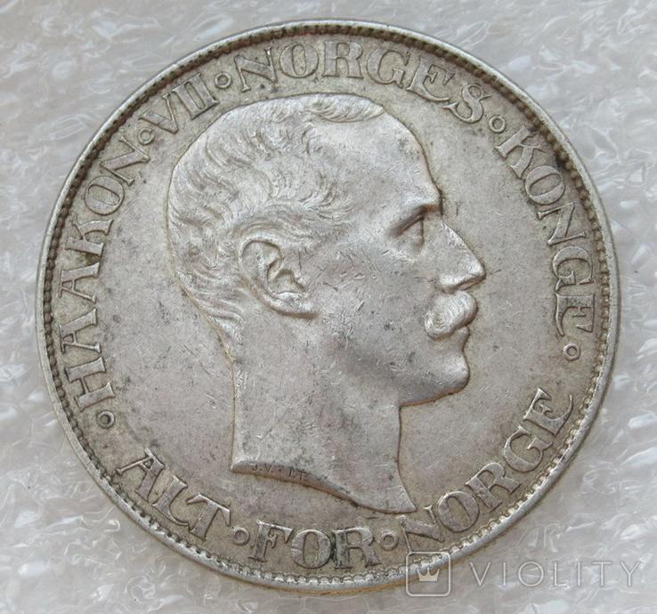 2 кроны 1908 г. Норвегия, серебро, фото №6