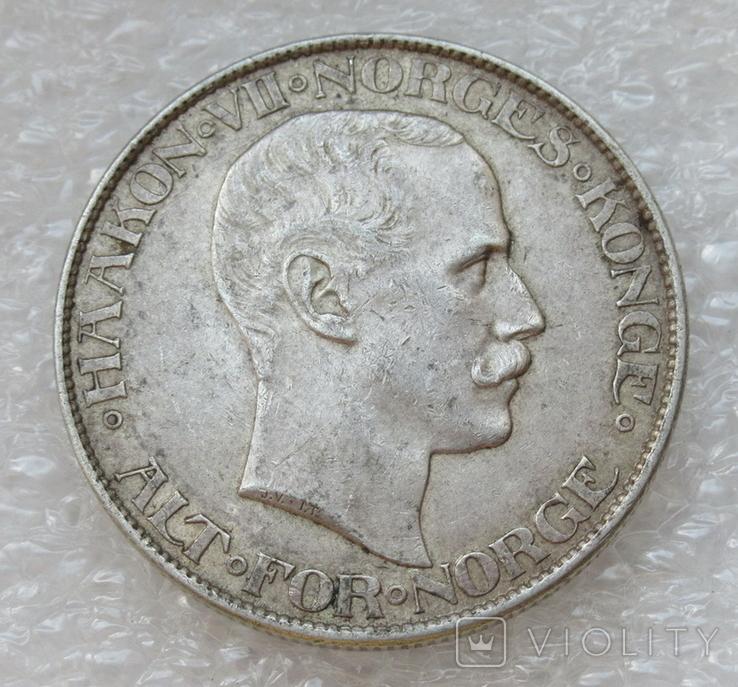 2 кроны 1908 г. Норвегия, серебро, фото №8