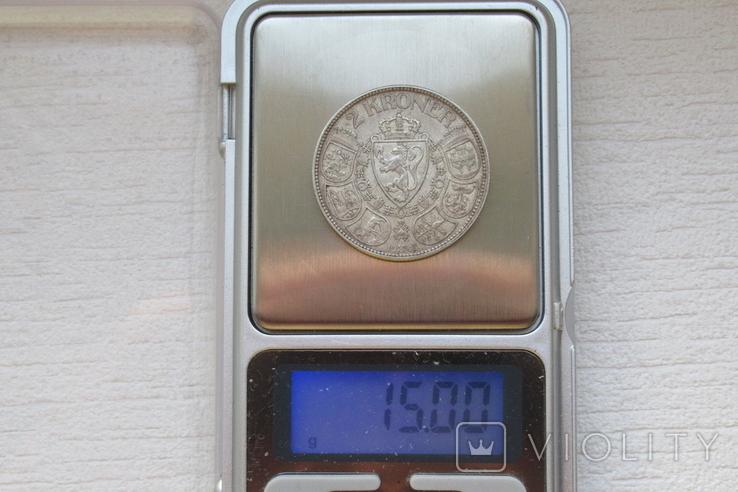 2 кроны 1908 г. Норвегия, серебро, фото №12