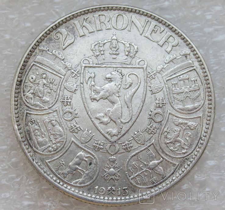 2 кроны 1913 г. Норвегия, серебро, фото №2