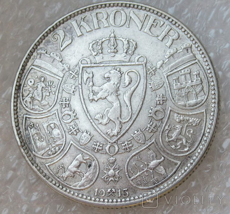 2 кроны 1913 г. Норвегия, серебро, фото №4