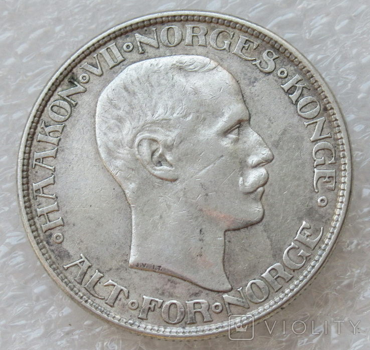 2 кроны 1913 г. Норвегия, серебро, фото №9