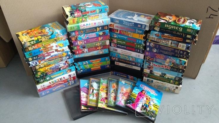 Видеокассеты - 54 шт, DVD - 7 шт. Мультфильмы., фото №2
