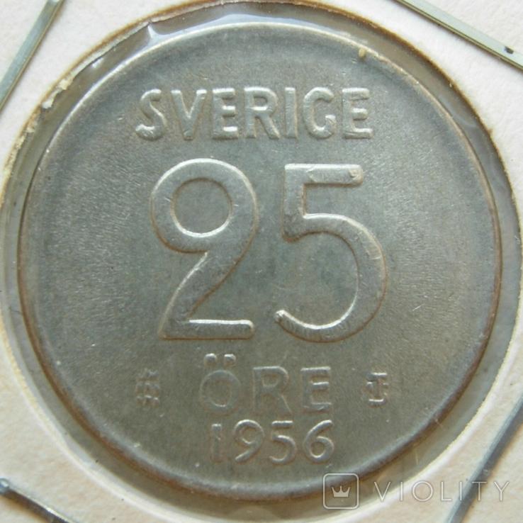 Швеция 25 эре 1956 серебро, фото №2