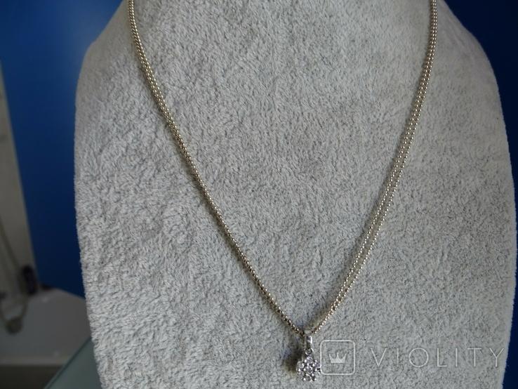 Fossil. Двойная цепочка с подвеской. Серебро., фото №3