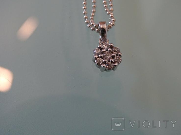 Fossil. Двойная цепочка с подвеской. Серебро., фото №10