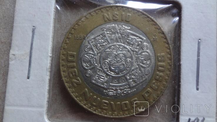 10 песос 1994 Мексика серебро биметалл Холдер 186, фото №2