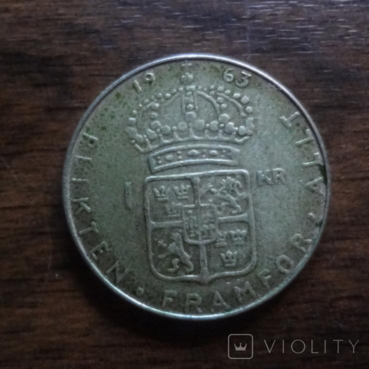 1 крона 1963 Швеция серебро (Л.4.11), фото №2