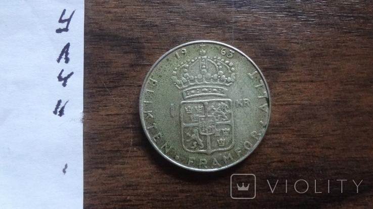 1 крона 1963 Швеция серебро (Л.4.11), фото №4