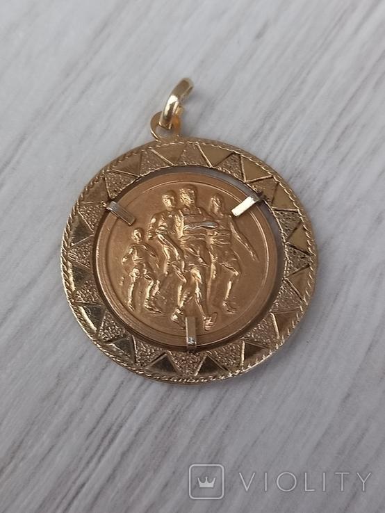 Кулон медальон серебро 800 пробы з позолотою, фото №2