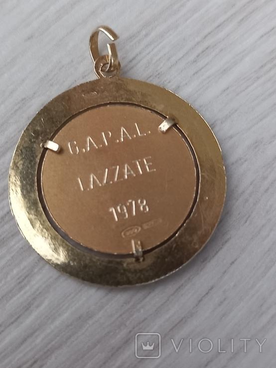 Кулон медальон серебро 800 пробы з позолотою, фото №3