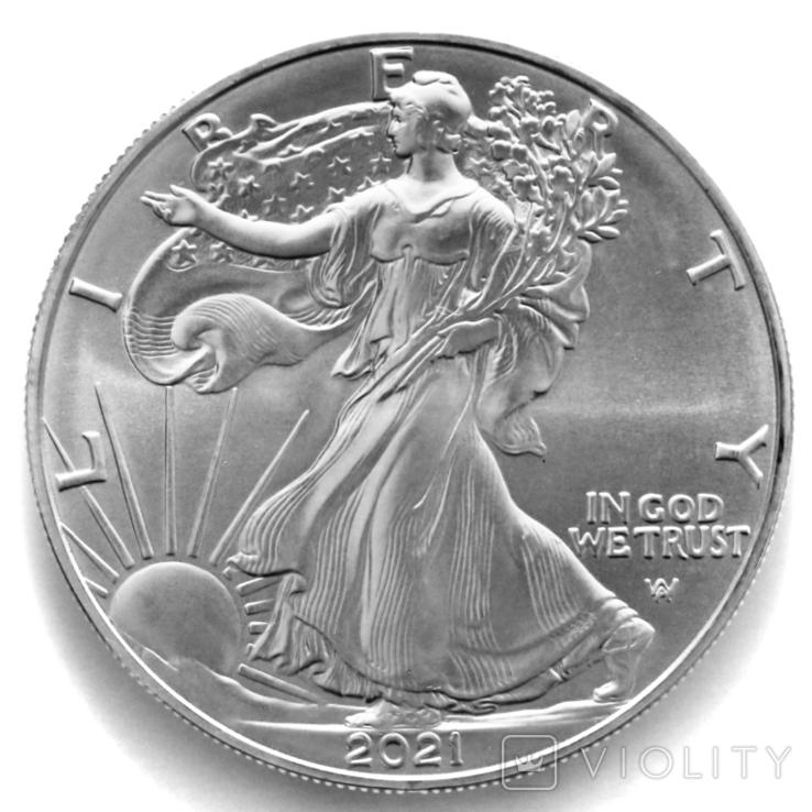 1 доллар. 2021. Американский орел. США (серебро 999, вес 31,1 г), фото №6