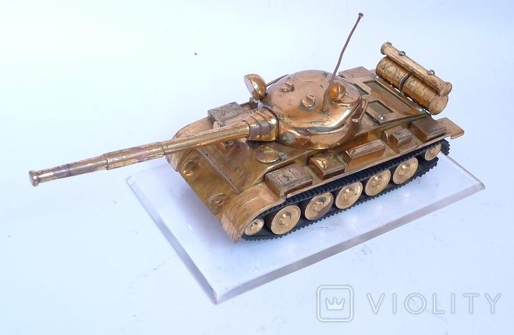 Танк Т-64 ? Латунь. Ручная работа . СССР., фото №7
