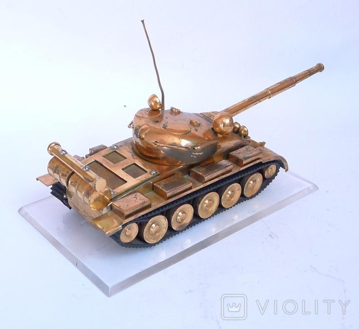 Танк Т-64 ? Латунь. Ручная работа . СССР., фото №11