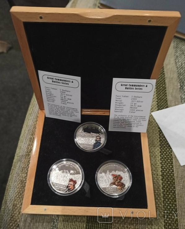 Набор монет Великие полководцы и битвы. 3 монеты. острова Кука. 2009., фото №2