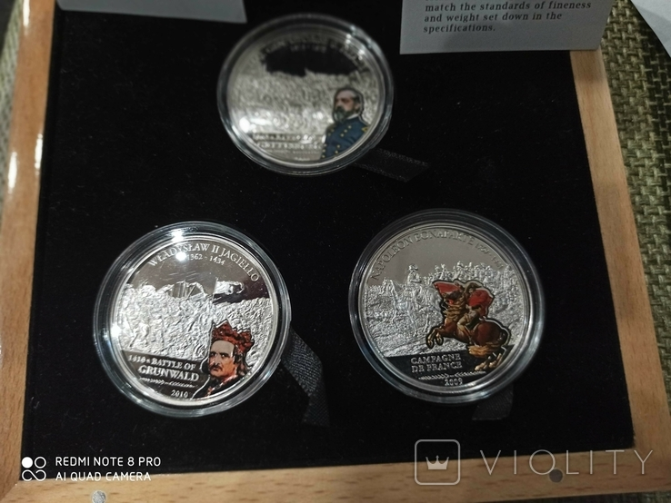 Набор монет Великие полководцы и битвы. 3 монеты. острова Кука. 2009., фото №3