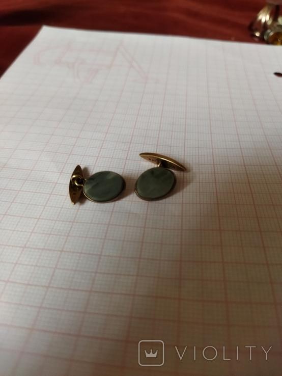 Запонки с натуральным зелёным камнем серебро 1, фото №3