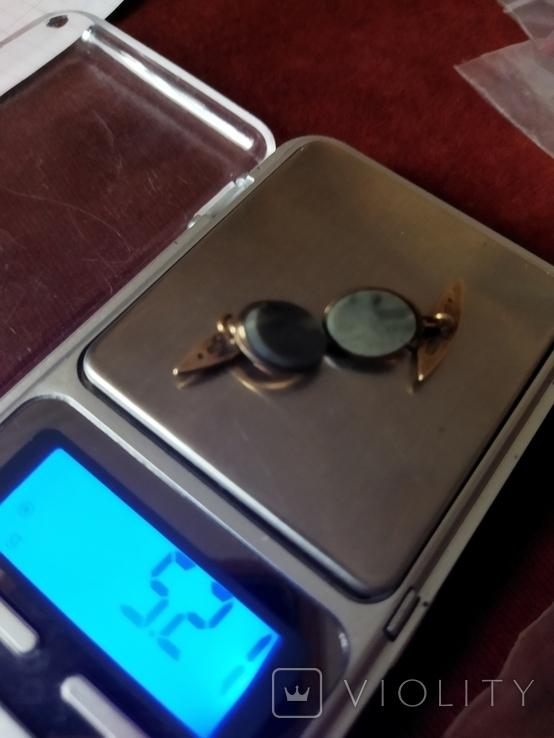 Запонки с натуральным зелёным камнем серебро 1, фото №4