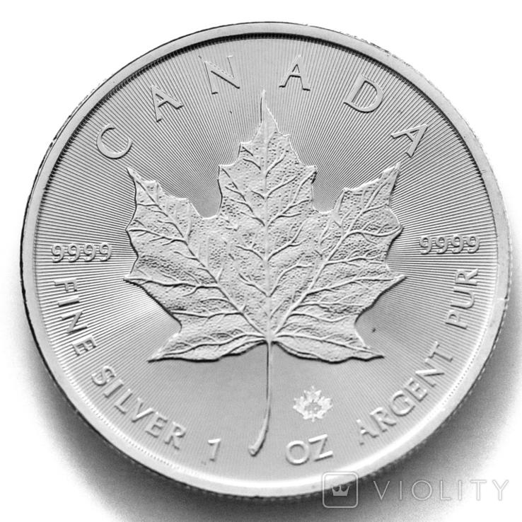 """5 долларов. 2021 """"Кленовый лист"""". Елизавета II. Канада (серебро 9999, вес 31,1 г), фото №3"""