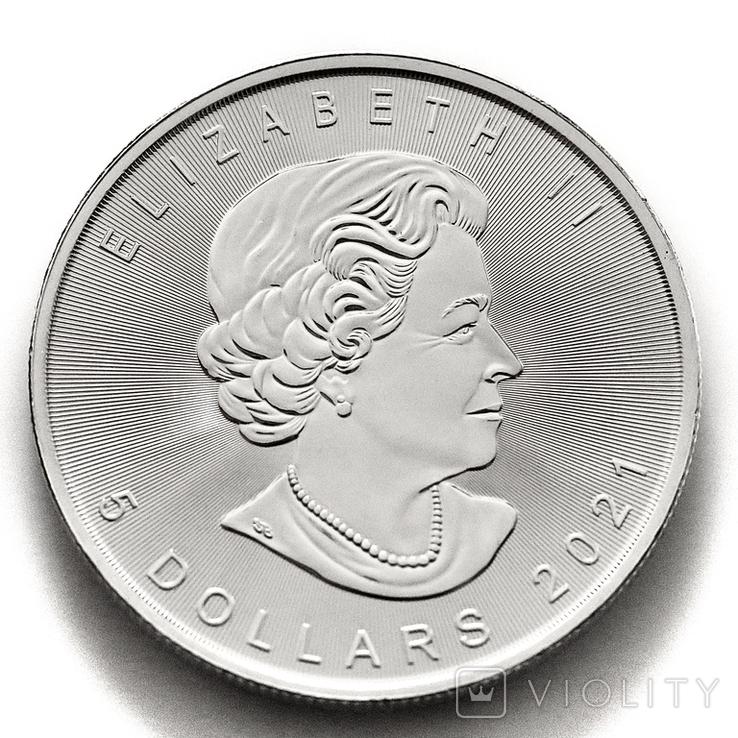 """5 долларов. 2021 """"Кленовый лист"""". Елизавета II. Канада (серебро 9999, вес 31,1 г), фото №4"""