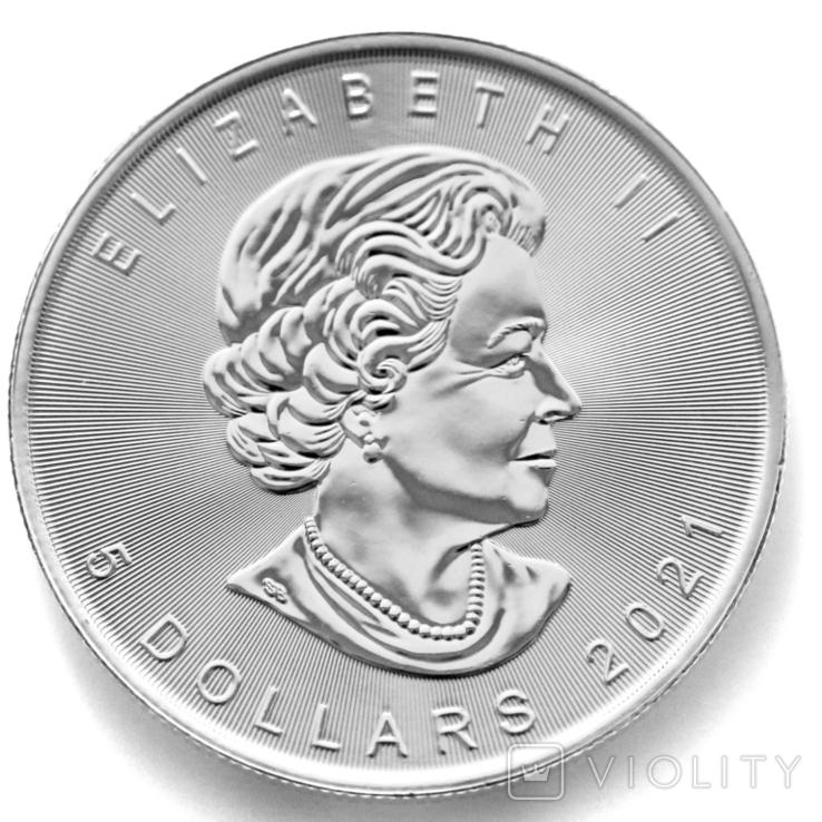 """5 долларов. 2021 """"Кленовый лист"""". Елизавета II. Канада (серебро 9999, вес 31,1 г), фото №5"""