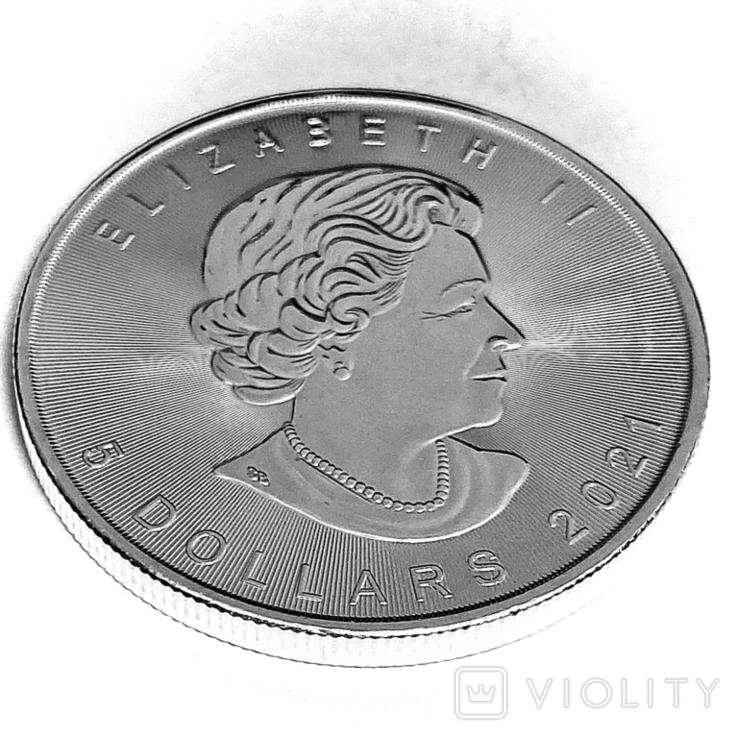 """5 долларов. 2021 """"Кленовый лист"""". Елизавета II. Канада (серебро 9999, вес 31,1 г), фото №7"""