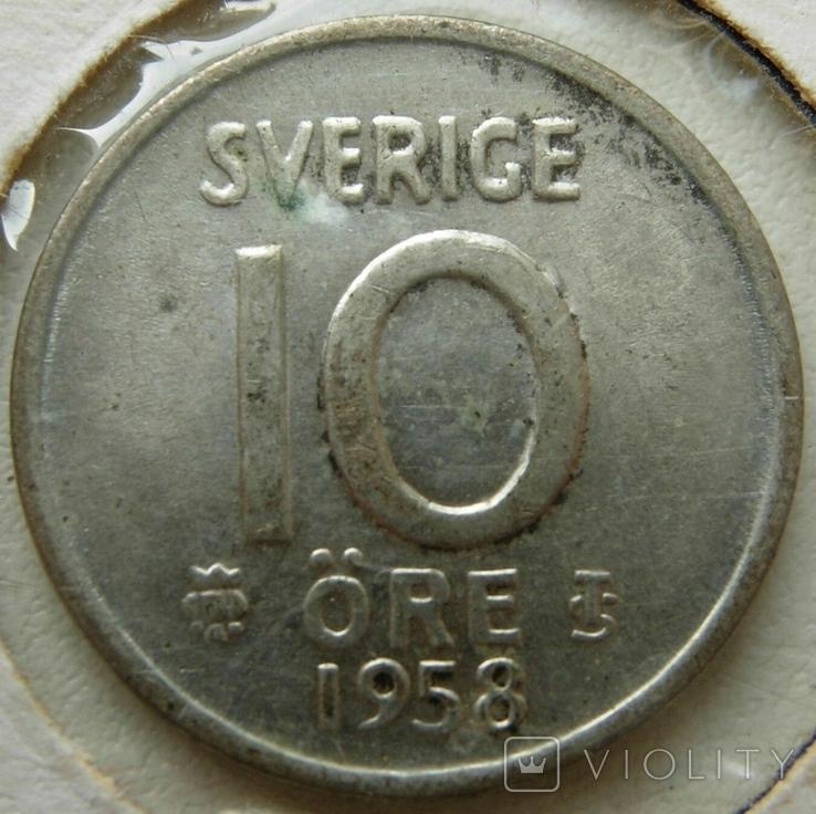 Швеция 10 эре 1958 серебро, фото №2